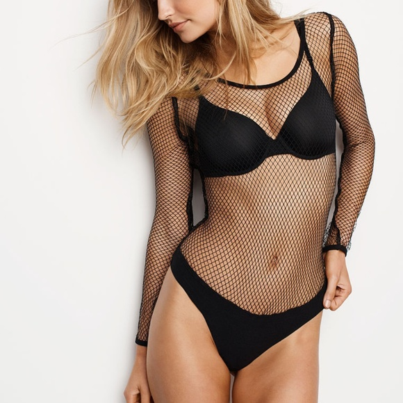 cb920978d9 Victoria s Secret Long Sleeve Fishnet Bodysuit